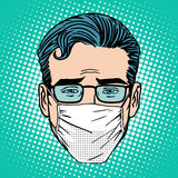 Retro Emoji sore virus infection medical mask face. Man pop art style Royalty Free Stock Photo
