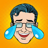 Retro Emoji tears joy man face Royalty Free Stock Image