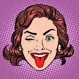 Retro Emoji tongue woman face Stock Image