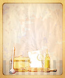 Retro empty paper backdrop with hand drawn graphic illustration of a kitchenware. Stock Images