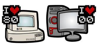 Retro en moderne computers stock illustratie