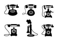 Retro en uitstekende telefoons royalty-vrije illustratie
