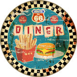 Retro enamel route 66 diner sign, Royalty Free Stock Image