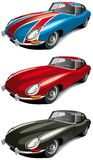 Retro english sport car set. Vectorial icon set of retro English sport car (Jaguer E-type 1965 year) isolated on white backgrounds. Every car is in separate Stock Photo