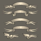 Retro engraving ribbons set Stock Images