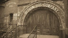 Retro Entrance to the Gotham Ice Company Stock Photo