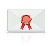 Retro envelope. Vector illustration of close detailed post envelope and red old-fashioned wax seal with ribbons and copy space for your own text and images stock illustration