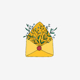 Retro envelope with flowers. Stock Photos