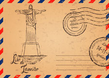 Retro envelope with stamps, Christ the Redeemer Stock Image