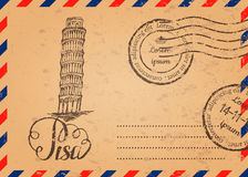 Retro envelope with stamps, Leaning tower of Pisa Stock Photo