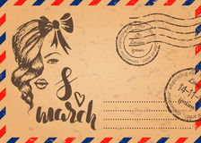 Retro envelope with stamps and 8 march hand drawn sketch, template of card for woman`s day. Vector illustration, Retro envelope with stamps and 8 march hand Stock Photo