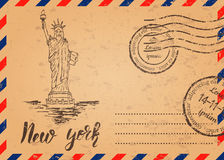 Retro envelope with stamps, Statue of Liberty Stock Image