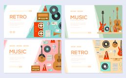 Retro equipment music set. Traditional melody brochure card set. festival template of flyear, web banner, ui header. Enter site. Layout invintation modern stock illustration