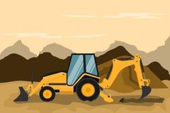 Retro escavatore che fa il lavoro di estrazione mineraria e della costruzione Macchinario pesante illustrazione vettoriale
