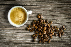 Retro Espresso And Coffee Beans Royalty Free Stock Photography