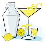 Retro-estilo Lemondrop Martini stock de ilustración