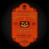 Retro etichetta d'annata dell'invito del partito di Halloween Immagini Stock