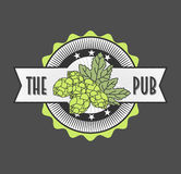 Retro etichetta disegnata di birra, per Beer House, Brewing Company, pub, Antivari Immagine Stock