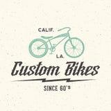 Retro etichetta o Logo Template di vettore della bicicletta su ordinazione Fotografie Stock Libere da Diritti