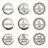 Retro etichette d'annata del caffè Fotografie Stock
