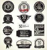 Retro etichette di anniversario, 50 anni Fotografia Stock