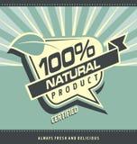 Retro etikett för organisk mat Arkivfoto