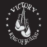 Retro etikett med boxninghandskar Royaltyfria Bilder
