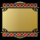 Retro etikett och baner med den guld- tappningprydnaden på svart Royaltyfria Foton