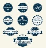 Retro Etiketten en de Stickers van de Kampioen van de Liga royalty-vrije illustratie