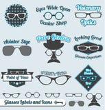 Retro Etiketten en de Stickers van Glazen Royalty-vrije Stock Afbeelding