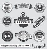 Retro Etiketten en de Stickers van het Gewichtheffen Royalty-vrije Stock Foto