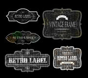 Retro etiketten 02 zwarte Royalty-vrije Stock Fotografie