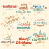Retro etiketter för glad jul för tappning Royaltyfri Foto