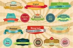 Retro etiketter och emblem Royaltyfri Fotografi