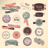 Retro etikettsamling Stock Illustrationer