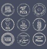Retro etikettsamling för pizza Royaltyfri Bild