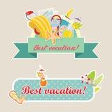 Retro etikettuppsättning för bästa semester Arkivfoto