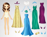 Retro Evening Paper Doll Royalty Free Stock Photos