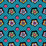 Retro exotic colorful flowers on blue checkered background pattern Stock Image