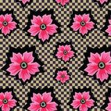 Retro- exotische rosa Blumen auf kariertem Hintergrundmuster Lizenzfreies Stockfoto