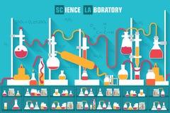Retro experimenten in een chemielaboratorium Stock Foto