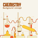 Retro experiments in a chemistry laboratory Stock Photography