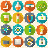 Retro experiments in a science chemistry. Laboratory icon illustration Stock Photos
