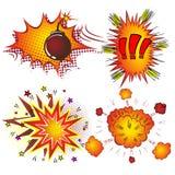 Retro explosion för humorbokvektorbang vektor illustrationer