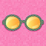 Retro eyeglasses with yellow reflection Stock Images