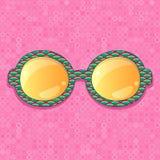 Retro eyeglasses with yellow reflection. Green Pattern Frame with Orange Shiny Glasses. Accessory Ilustration Stock Images