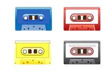 retro färgrik musik för kassetter Royaltyfri Fotografi