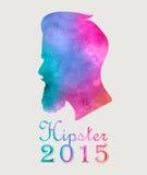 Retro färgrik vattenfärgetikettemblem eller logoHipster 2015 med Arkivfoton