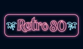 Retro ` 80 för neonskylt`, stock illustrationer