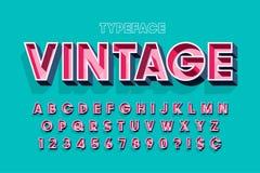 Retro för skärmstilsort för original 3d design, alfabet, bokstäver stock illustrationer